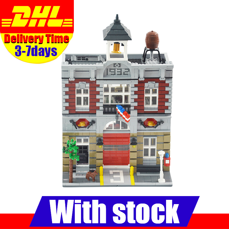 2017 DHL LEPIN 15004 Fire Brigade Station 2313 PCS  City Street Building Blocks Bricks Toy Gift Compatible 10197 lepin 15004 2313pcs city creator series fire brigade model building blocks bricks toys for children gift compatible 10197