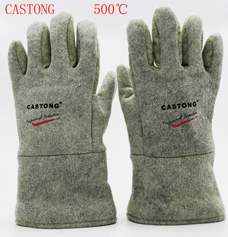 CASTONG 500 degree High temperature protection gloves Aramid High temperature Protective gloves Wear-resistant Cut cut gloves high quality hand tool gloves 12 pairs 700g cotton gloves wear resistant work thick gloves against high low temperature gloves