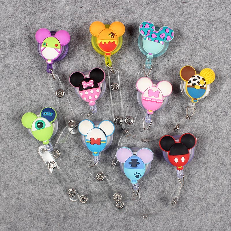 10 Kinds Style Cute Mouse Retractable Creative Plastic Badge Holder Reel Student Nurse Exhibition Enfermera Name Card Chest Card