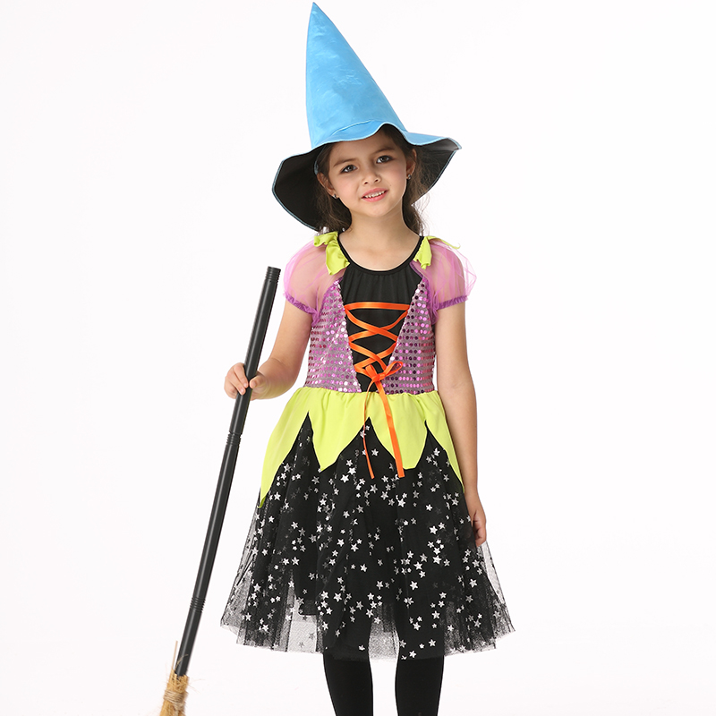 children kids baby girls sexy halloween costumes carnival party fancy dress with hat witch costumes child - Baby Witch Costumes Halloween