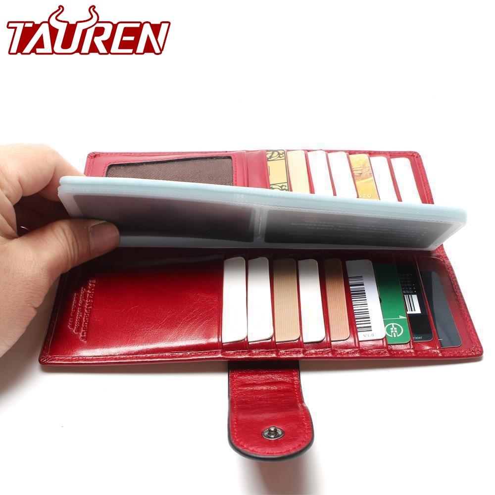 купить TAUREN Business Card Hold 100% First Layer Genuine Cowhide Oil Wax Leather ID Holder For Card Women Credit Case Wallet Purse Bag онлайн