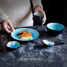 NIMITIME Japanese Style Ceramic Ice Crack Rice Bowl Soup Spoon Tea Cup Chopsticks Holder Restaurant 5pc Table Set