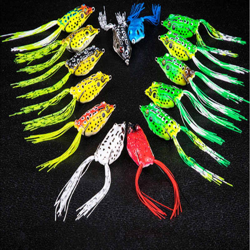 Topwater Frog Baits Floating Weedless Fishing Lure with Double Hidden Hooks Soft Bait