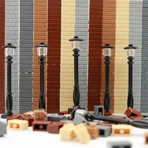 Image 2 - Stad Bouwstenen Straat Licht Straat Lamp Vrienden Huis Muur Accessoires Stukken Mni Speelgoed Militaire Bakstenen