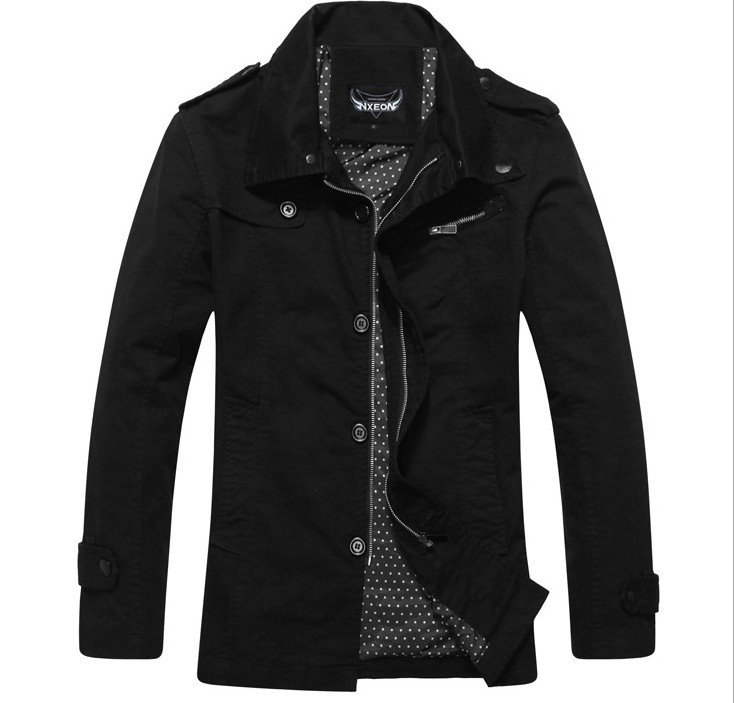 a9b1f49fdf4 New purified cotton jacket lapel washed male solid color autumn winter coat  XXL khaki black garment for men exquisite work CM010-in Jackets from Men s  ...