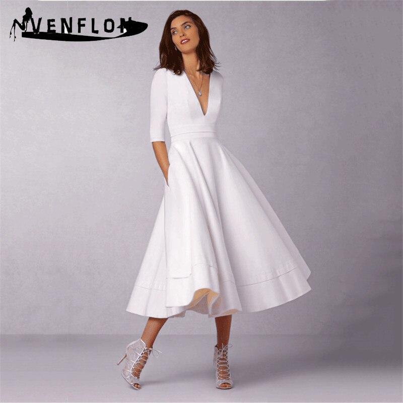 Autumn Winter Dress Women 2019 Casual Vintage Elegant Sexy Half Sleeve Deep V Neck Ball Gown Long Dress Plus Size short dresses office wear