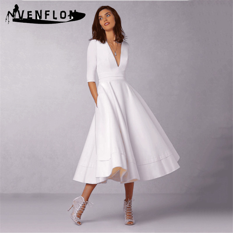 Vintage Spring Summer Dress Women 2019 Casual Plus Size Elegant Long Party  Dress Female Sexy V e5bbc2a125cd