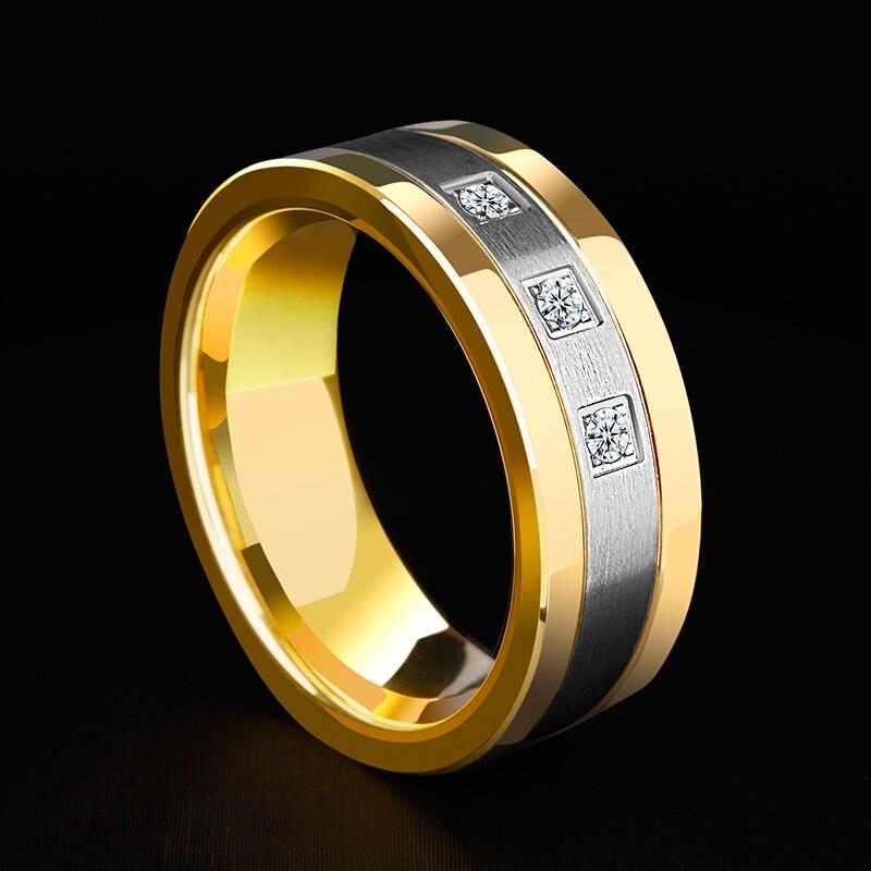 Nouveauté 8mm anneaux de tungstène pour hommes plaqué or bandes de mariage deux tons 3 CZ pierre promesse mariage taille 7-12 pour la mariée - 5
