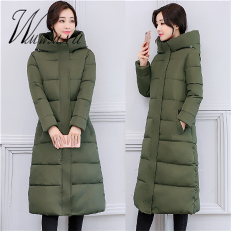 WMWMNU Winter Cotton Padded Jacket 2017 Fashion Women Slim Thick Stars Print Female Coat   Parka   Warm Winter Long Jackets Overcoat