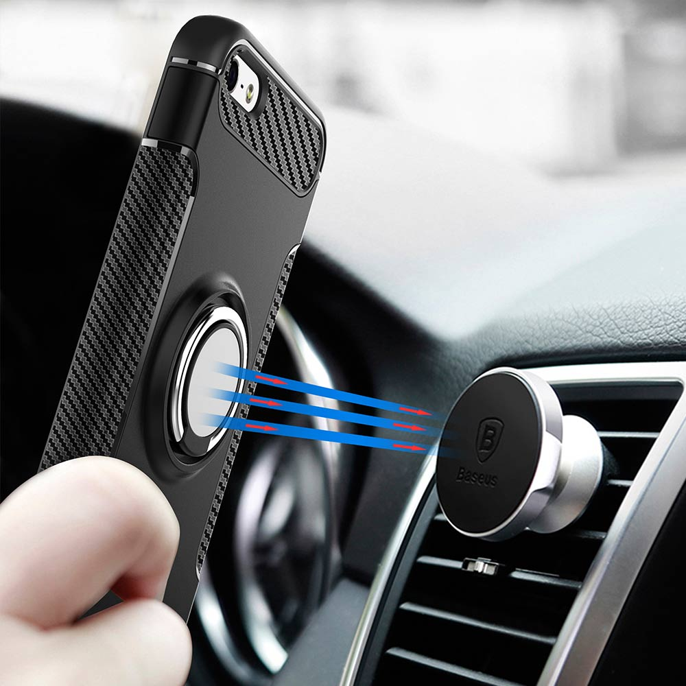 YOYO DEER Hybrid Case for iPhone 5s 5 SE Car Magnetic Phone Holder Finger Ring TPU+PC Cover for