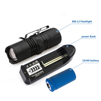 Zoomable Waterproof Magnet MINI CREE XM L2 Flash Lights 16340 Rechargeable Battery LED Torch Lanterna Cr123