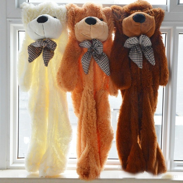 60 cm zu 200 cm billig riesigen nicht gepolsterten leere teddybär bearskin mantel soft big haut shell Semi-fertig plüsch spielzeug weichen kind puppen