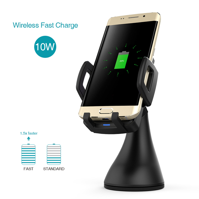 dodocool 10W Fast Charge Wireless Car Charger Air Vent Suction Mount USB Power Adapter 1.5m Charging Cable for Samsung Galaxy S8