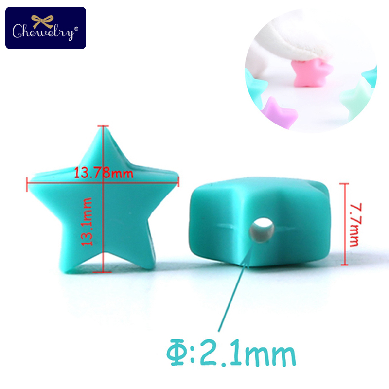 CHEWELRY Silicone Bead 40pc Baby Silicone Teether Heart Shape Food Grade Kids Pendant Pearl Silicone Tiny Rod Children Goods Toy