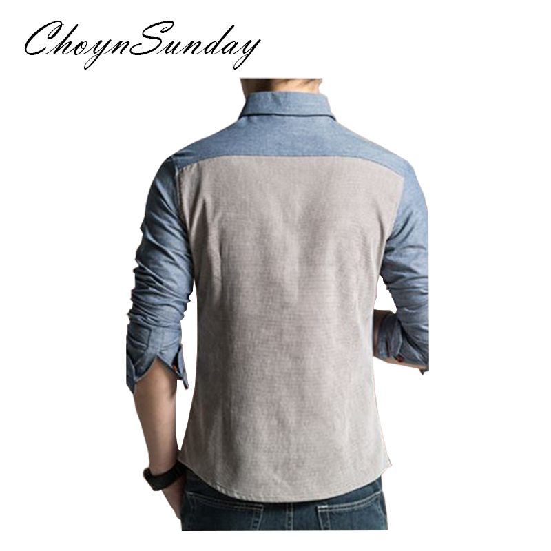 ChoynSunday 2018 new trend Men's Youth Slim Spring and Autumn Casual Shirt Men's Imitation Denim Shirt Men's Long Sleeve shirt 4