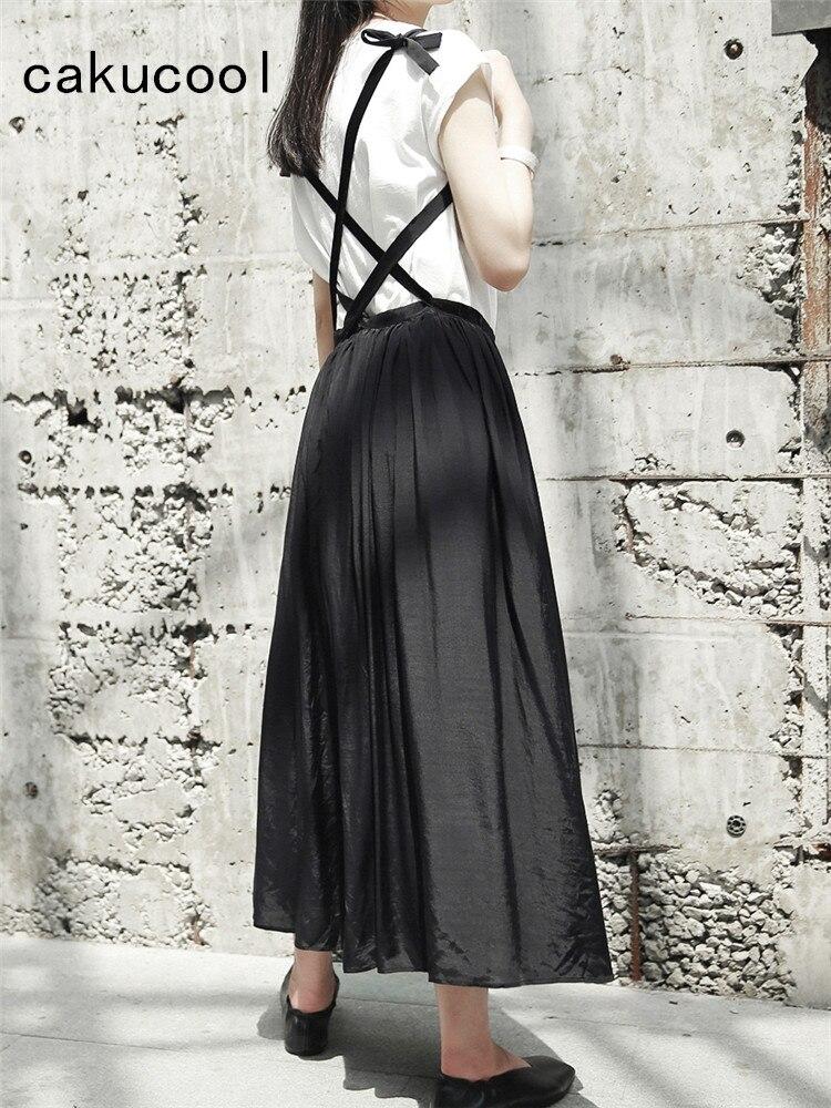 Cakucool nouveau noir Slip jupes été mince fente longue jarretelle jupe gothique