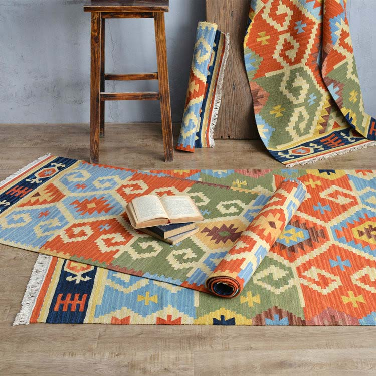 Art Kilim Wool Rug: Kilim 100% Wool Handmade Carpet Geometric Indian Rug Plaid