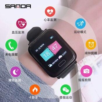Reloj inteligente SANDA A6 a la moda, informal, Digital, IP67, a prueba de agua, Monitor de ritmo cardíaco, Smartwatch de presión arterial para Android IOS