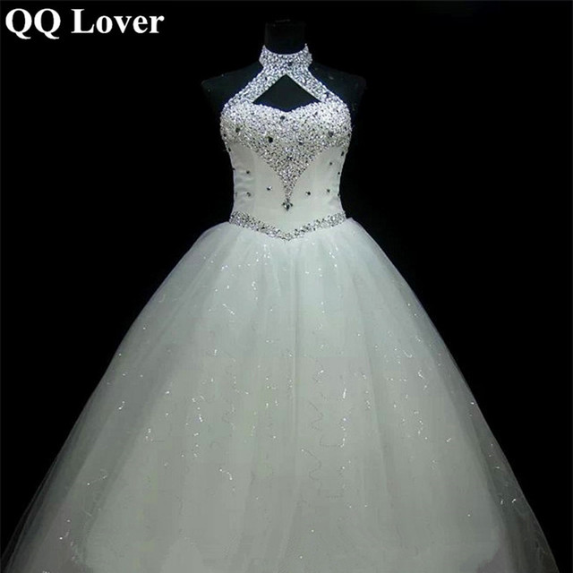 QQ Lover 2019 New Halter Luxury Beaded Wedding Dress With Video Plus Size Bridal Gown Vestido De Noiva
