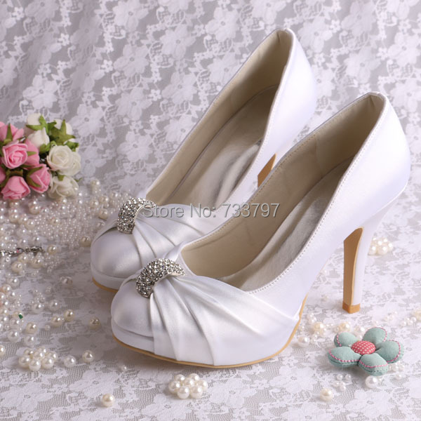 (20 Colors)Custom Handmade Platform Wedding Shoes Satin White Bridal Heels Spring