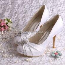 ( 20 цветов ) на ручной платформа свадебная обувь атласное белое свадебное высокие каблуки весна