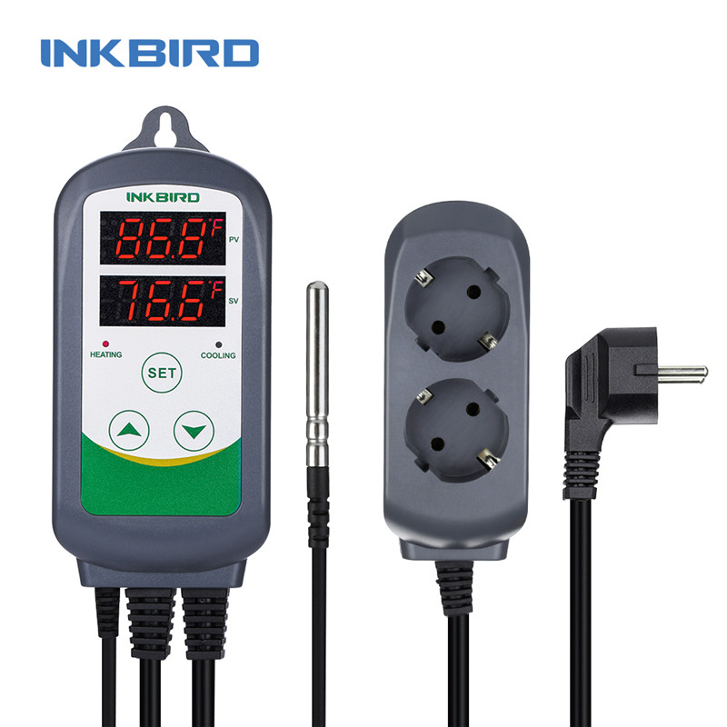 Inkbird ITC 308S EU Plug 220V Dual Stage Temperature Controller Pre wired Digital Thermostat with NTC