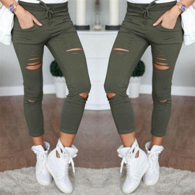 2017 обтягивающие джинсы Для женщин джинсовые штаны отверстия уничтожено колена карандаш Брюки для девочек стрейч Рваные джинсы повседневные штаны