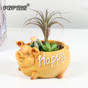 Image 2 - NEW Creative Resin Flower Pot for the Mascot of the Year of the Pig in 2019 planters for succulents succulents pots gift ideas