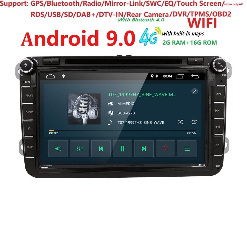 Hizpo Автомобильный мультимедийный плеер Android 9,0 2 Din gps Авторадио для Volkswagen/GOLF 5 Golf 6 POLO Passat; Skoda CC TOURAN FM ips wifi