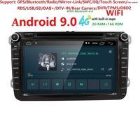Hizpo Car Multimedia player Android 9.0 2 Din GPS Autoradio For Volkswagen/GOLF 5 Golf 6 POLO PASSAT SKODA CC TOURAN FM IPS WIFI