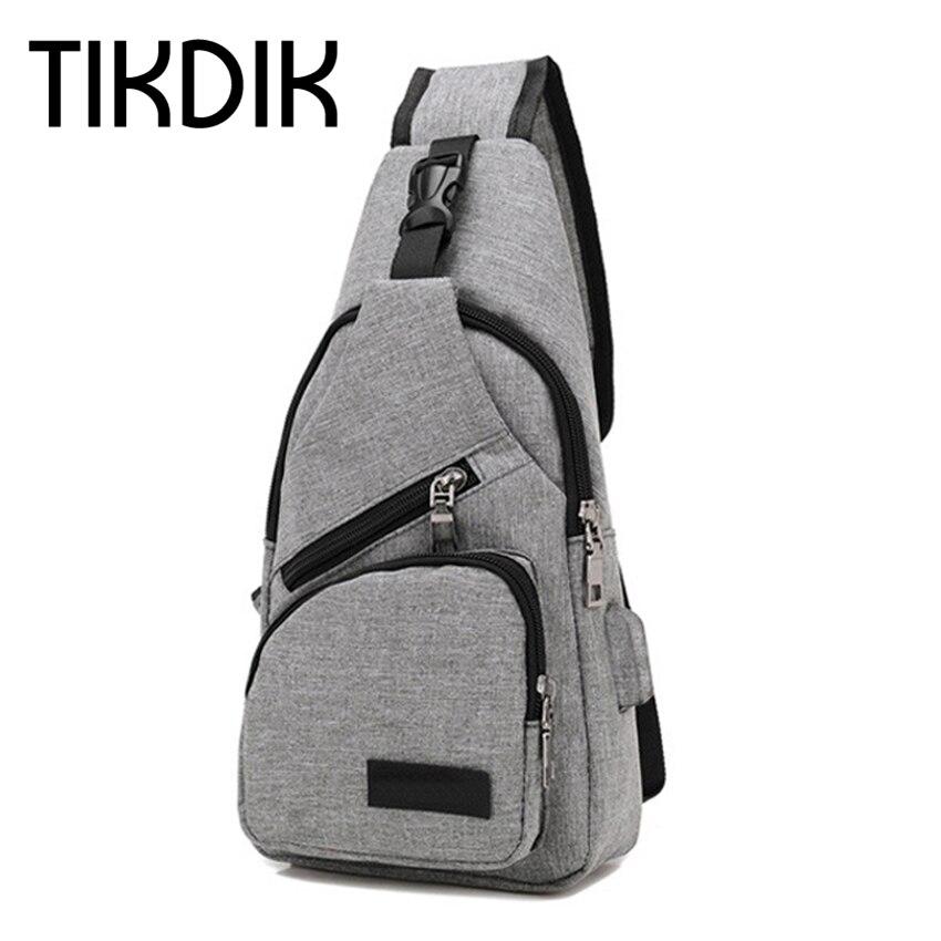 Brand New Theftproof Zipper Open Canvas Männer Brust Taschen Mode - Handtaschen