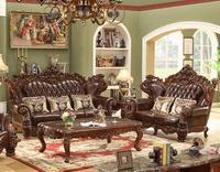 Soft American Style Furniture Genuine Leather Sofa Set PRF916