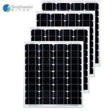 Painel Solar Monocristalino 12v 50W 4 Pcs Modules 48V 200W Panneau Solaire
