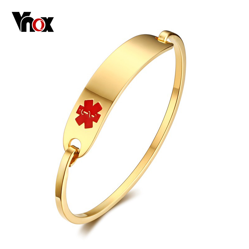 Vnox Free Engraving Medical Alert Bracelet Non Allergenic Surgical Steel Id Cuff Bangle Bracelets For Women Jewelry In From