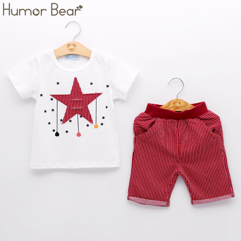 Humor Bear Kids Clothes New Boy Clothing Sets Cartoon Stars Design T-shirt+ Shorts 2PCS Sets Boys Clothes Children Clothes 2018 new cartoon boys clothing sets 2pcs denim jacket