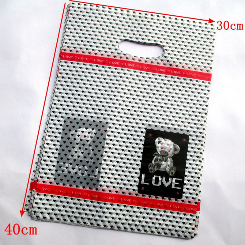 wholesale 100pcs/lot Cute teddy bear Gift Bags Plastic Boutique Pouches Shopping Gift Package Bag 40*30cm154037