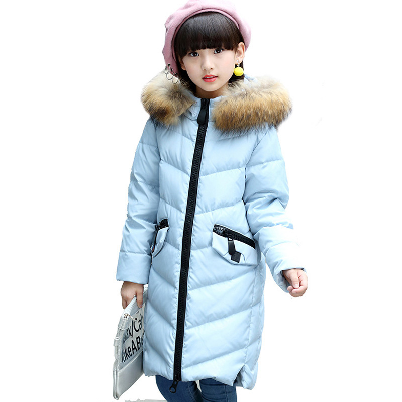 Girl Winter Long Coat Children Thickening Warm Down Jacket for Girl Fashion Children Outerwear with Real Fur DQ600 girls coat down winter jacket for girl children outerwear