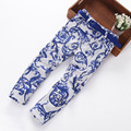 GIRLS clothing fashion print floral girls jeans with belt cotton children brand trousers pants girls children