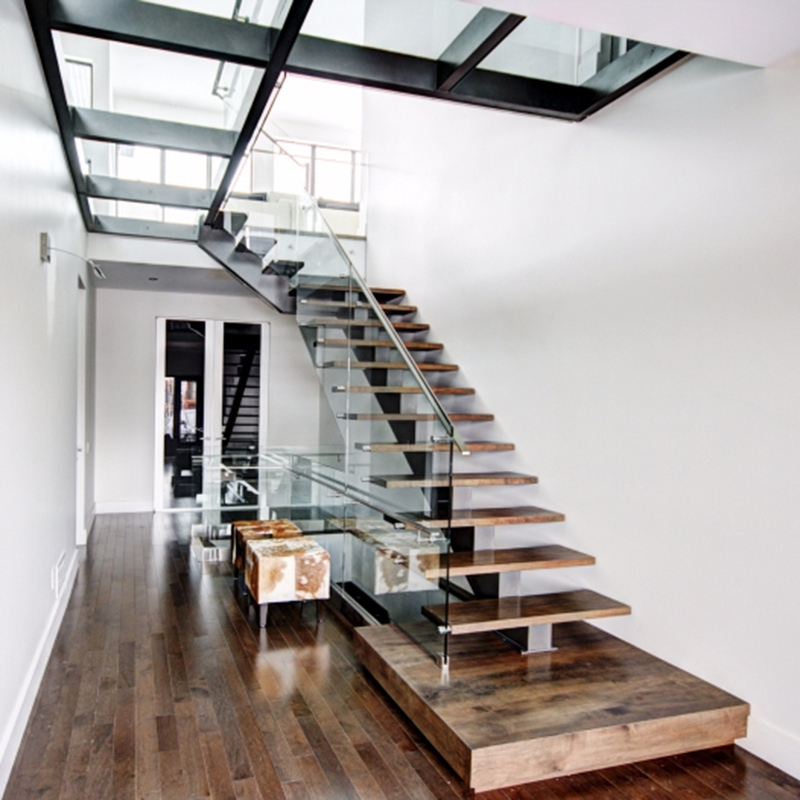 Glass Railing Wood Stair Mono Stringer Wood Staircase Living Room   Wood And Glass Staircase   New   Spiral   Stair Railing   Design   Stair Case