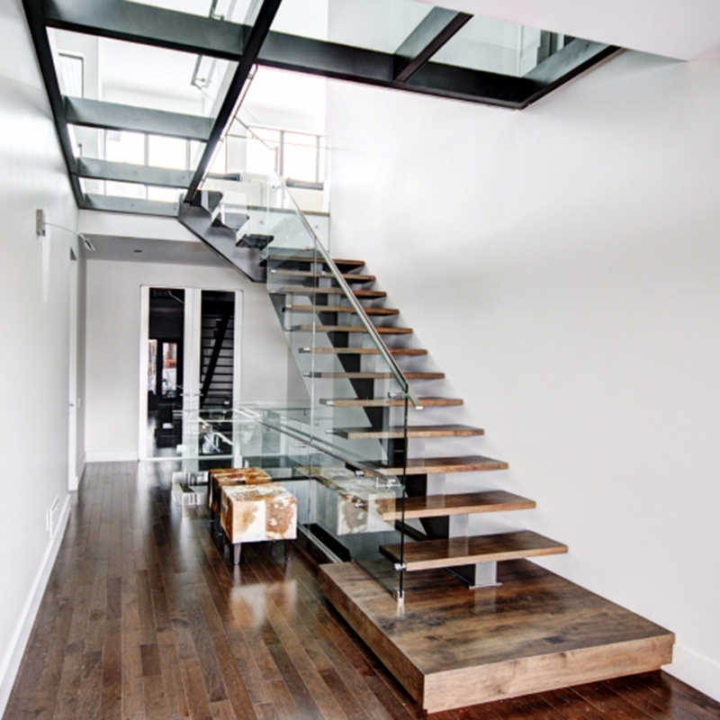 Glass Railing Wood Stair Mono Stringer Wood Staircase