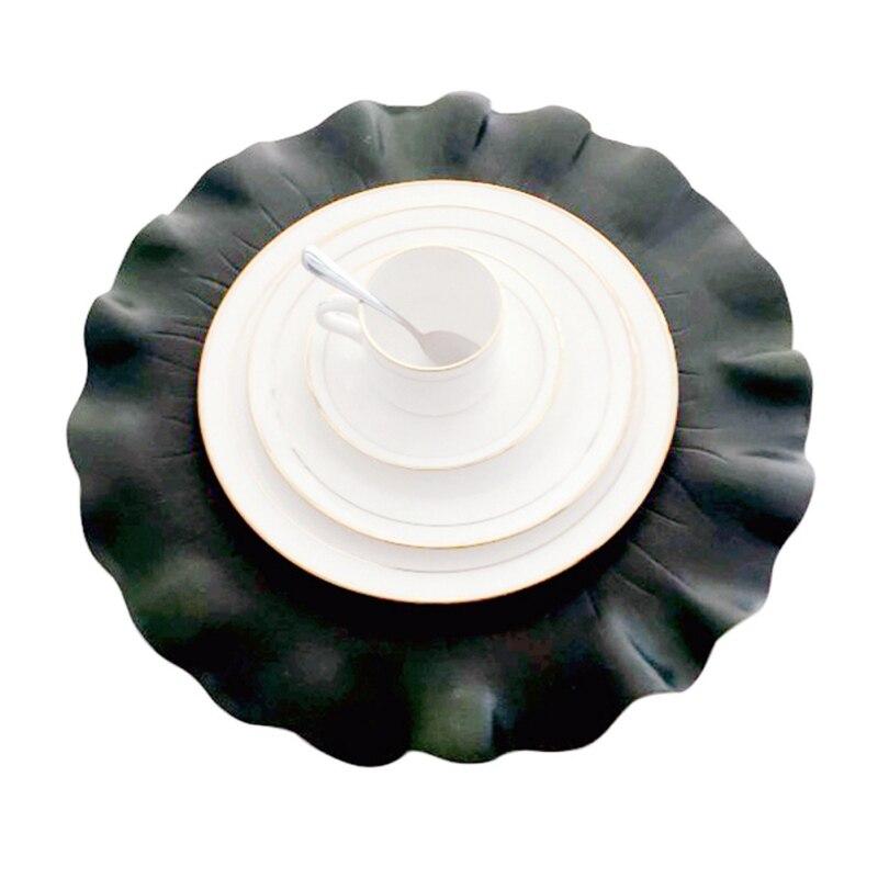 Mutfak Placemat Yaprakları Pvc yemek masası Mat Disk Pedleri Kase Ped Bardak Su Geçirmez masa süsü Örtüsü Pedi Kaymaz Ped