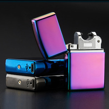 Electronic outdoor tools Cigarette lighter Windproof ultra-thin Metal pulse USB Rechargeable Flameless Electric Arc Cigarette Li