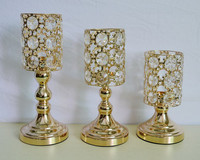 3pcs Gold silver plated candle holder with crystals wedding candelabra/centerpiece decoration candlestick
