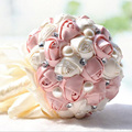 In Stock Gorgeous Beaded Crystal Wedding Bouquet Artificial Sapphire Ivory Rose Bridesmaid Flower Pearl Bridal Bouquets