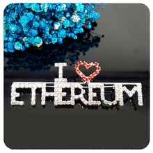 Handmade Blingbling Brooch Gift I Love ETHEREUM Word Pin to ETH Fans