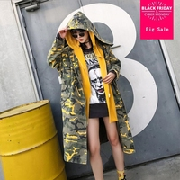 Autumn Thai street fashion camouflage hooded long windbreaker coat female loose casual stitching fake two trench outerwear L1409