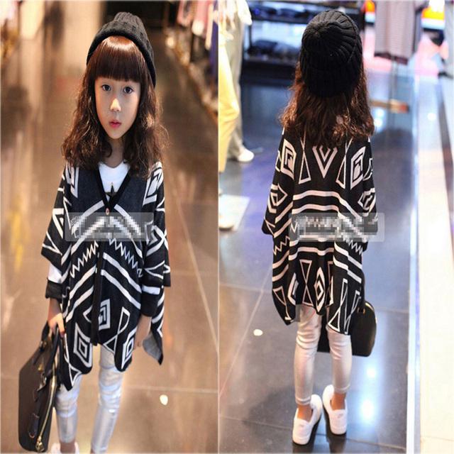 Meninas de inverno Crianças Camisolas 2016 Moda Irregular Geometria Crianças Menina Blusas de Inverno Da Marca Crianças Roupas Camisolas do Casaco Para As Meninas