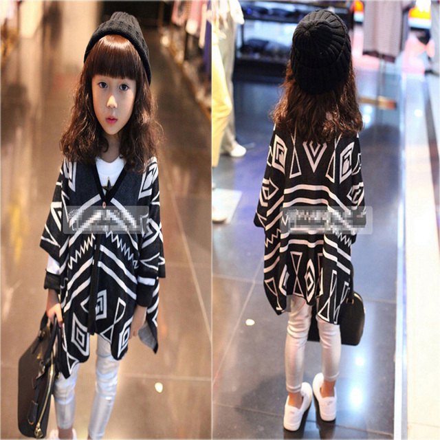 Winter Girls Kids Sweaters 2016 Fashion Geometry Kids Girl Sweaters Winter Brand Irregular Kids Clothes Sweaters Coat For Girls