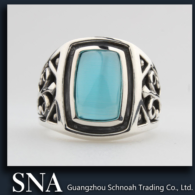 SNA JewelryVintage Oval Blue Opal Stone Silver Ring Designs For Men