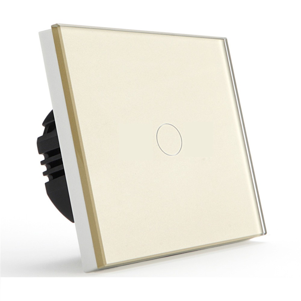 Bseed Touch Switch 1 Gang 3 Way 1 Gang 3 Way EU Touch Switch With Glass Panel Gold Touch Light Switch Eu Uk Us Au smart home us au wall touch switch white crystal glass panel 1 gang 1 way power light wall touch switch used for led waterproof